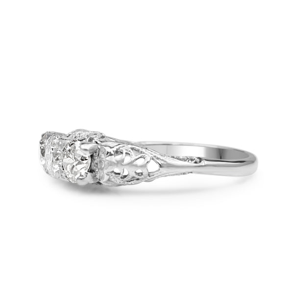18ct White Gold Antique 3 Stone Diamond Old Cut Ring