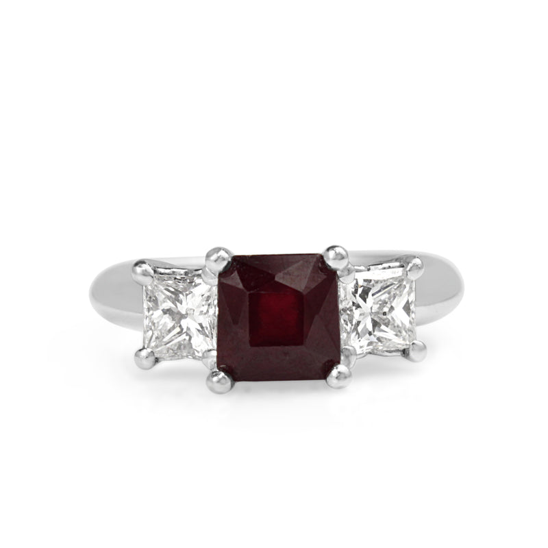 18ct White Gold Treated Ruby and Diamond 3 Stone Ring