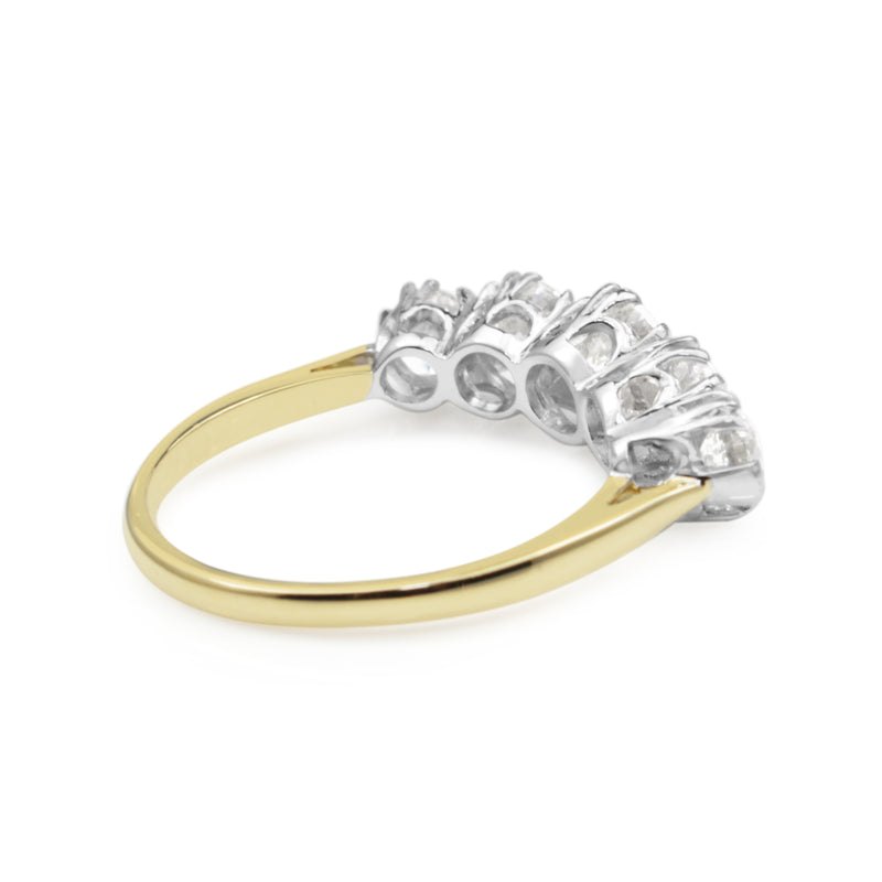 18ct Yellow and White Gold Victorian Style 5 Stone Diamond Ring