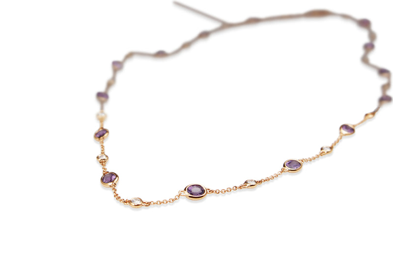 18ct Rose Gold Purple Sapphire and Diamond Necklace