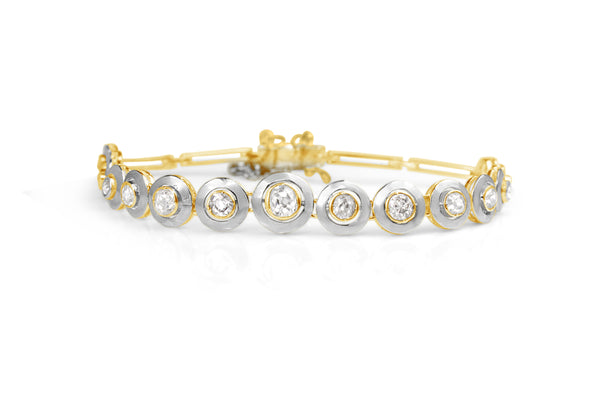 18ct Yellow Gold and Platinum Art Deco Old Cut Diamond Bracelet