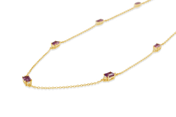 18ct Yellow Gold Pink Sapphire and Diamond Necklace