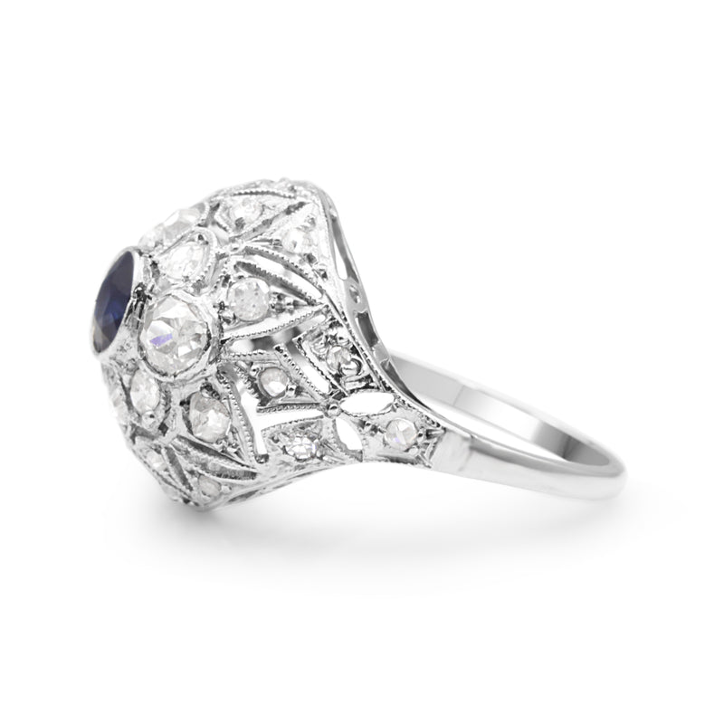 Platinum Art Deco Sapphire and Old Cut Diamond Ring