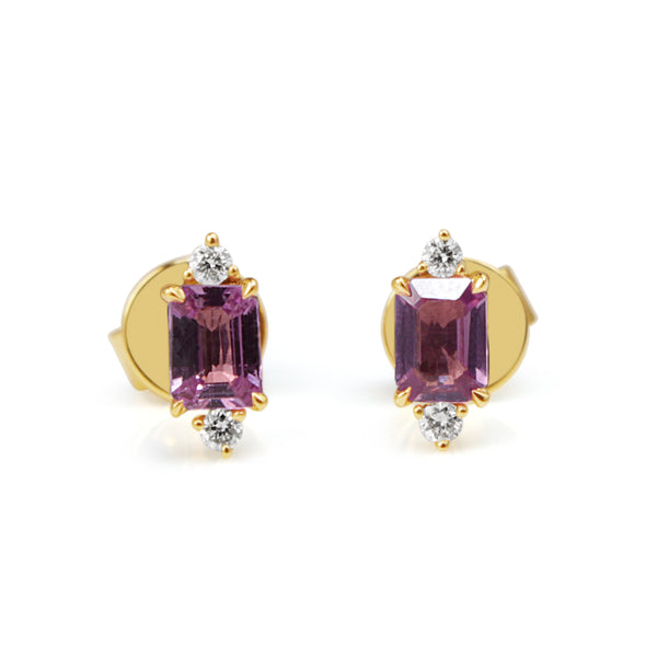18ct Yellow Gold Pink Sapphire and Diamond Stud Earrings