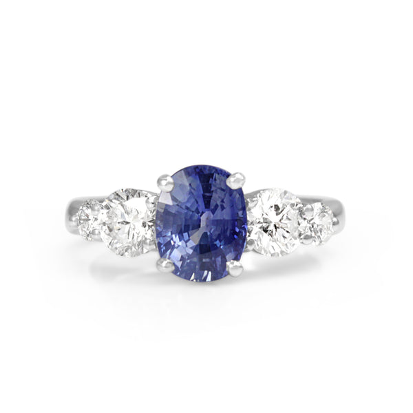 18ct White Gold Sapphire and Diamond 5 Stone Ring