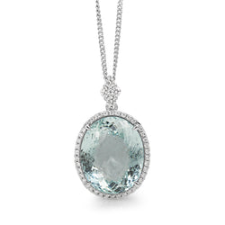 18ct White Gold Aquamarine and Diamond Pendant
