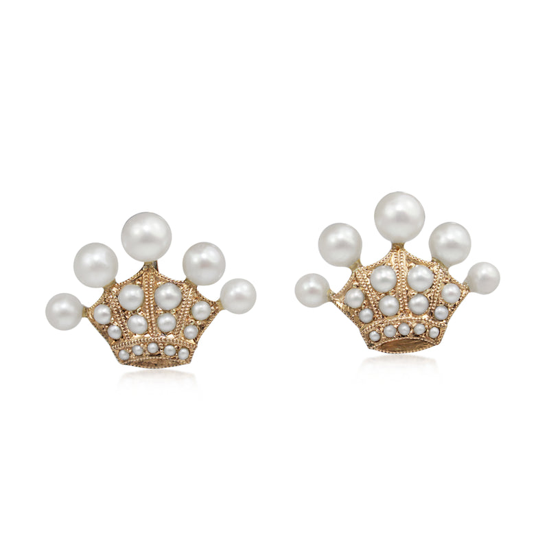 9ct Gold Antique Pearl 'Crown' Style Earrings