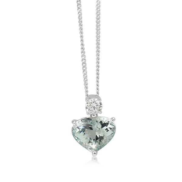 18ct White Gold Heart Aquamarine and Diamond Pendant