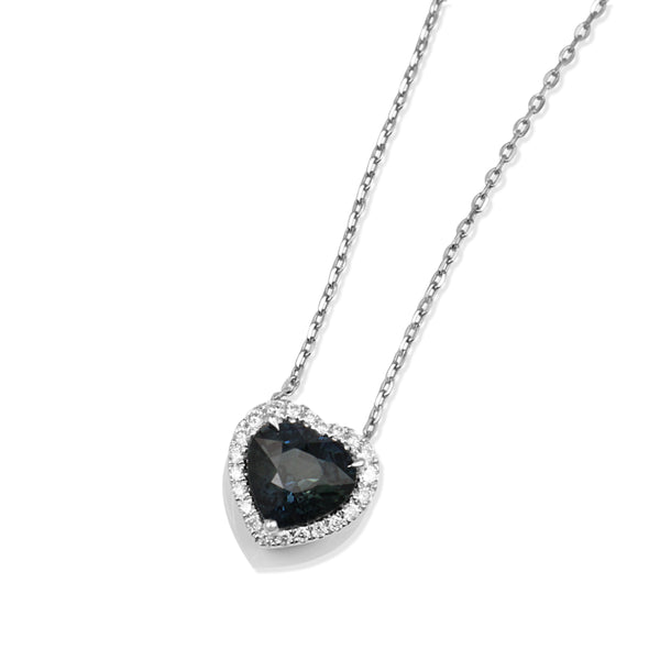 18ct White Gold Heart Sapphire and Diamond Halo Necklace