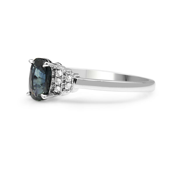 18ct White Gold Sapphire and Diamond Ring