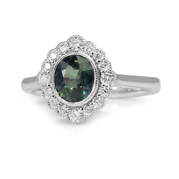 18ct White Gold Teal Sapphire and Diamond Daisy Halo Ring