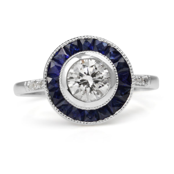 Platinum Sapphire and Diamond Art Deco Style Target Ring