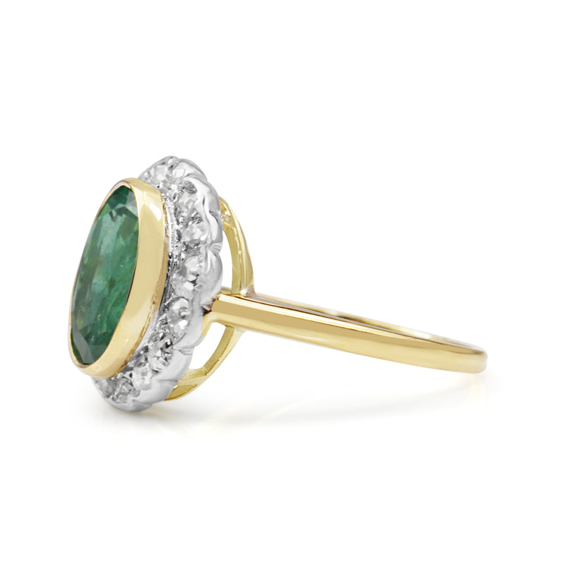 18ct Yellow and White Gold Vintage Emerald and Diamond Ring