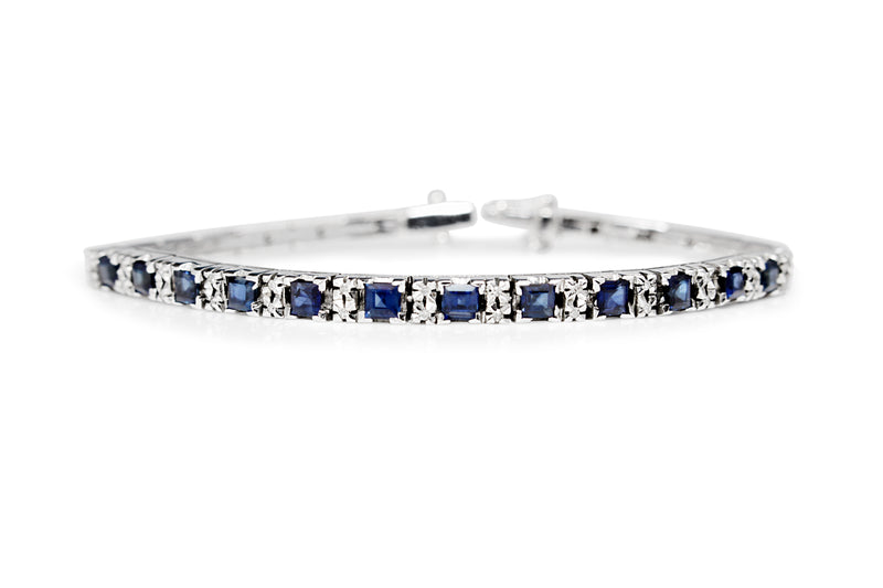 18ct White Gold Sapphire and Diamond Bracelet