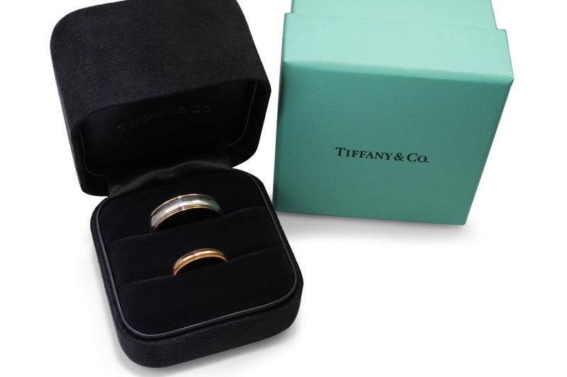 18ct Rose Gold and Platinum Tiffany and Co Mens Band