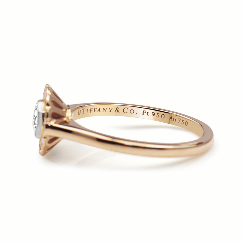 18ct Rose Gold and Platinum Tiffany and Co Enchant Diamond Flower Ring