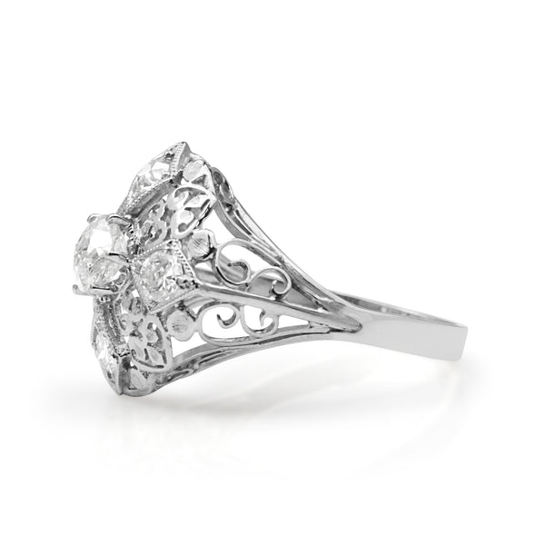 14ct White Gold Art Deco Old Cut Diamond Ring