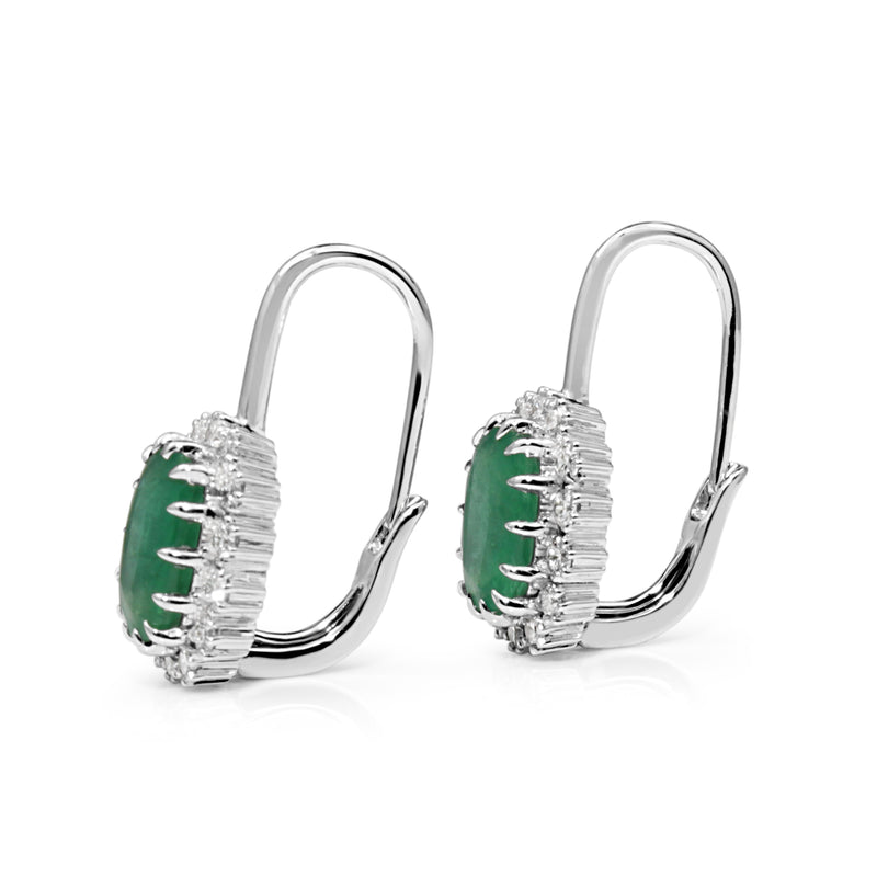 18ct White Gold Emerald and Diamond Halo Earrings