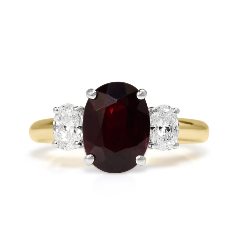18ct Yellow and White Gold Oval Ruby and Diamond 3 Stone Ring