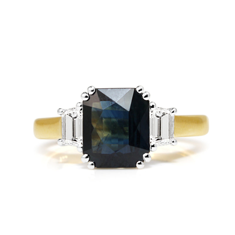 18ct Yellow and White Gold Sapphire and Diamond 3 Stone Ring