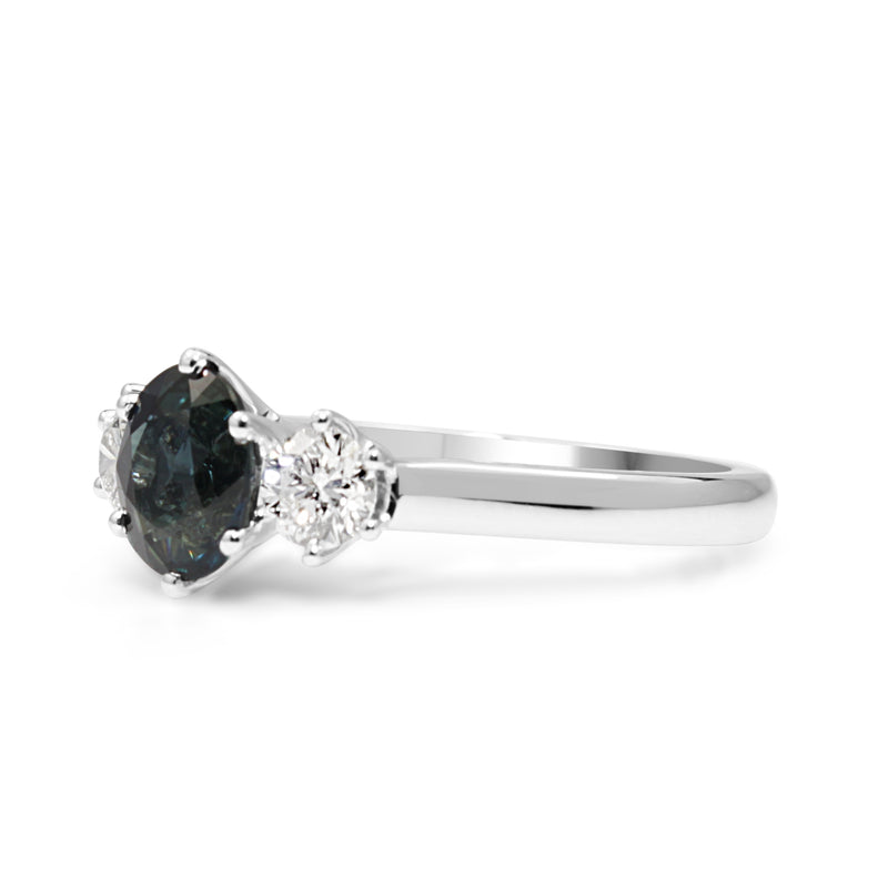 18ct White Gold Sapphire and Diamond 3 Stone Ring