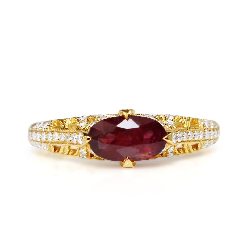 18ct Yellow Gold Vintage Style Ruby and Diamond Ring