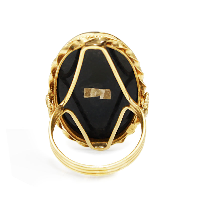 14ct Yellow Gold Vintage Onyx and Diamond Ring