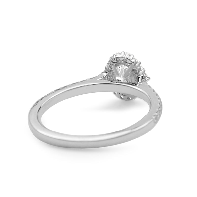18ct White Gold Fine Oval Diamond Halo Ring