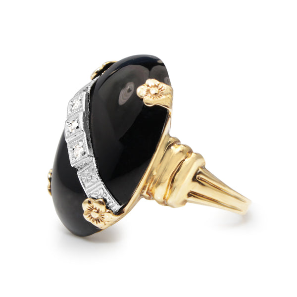14ct Yellow Gold Onyx and Diamond Art Deco Ring