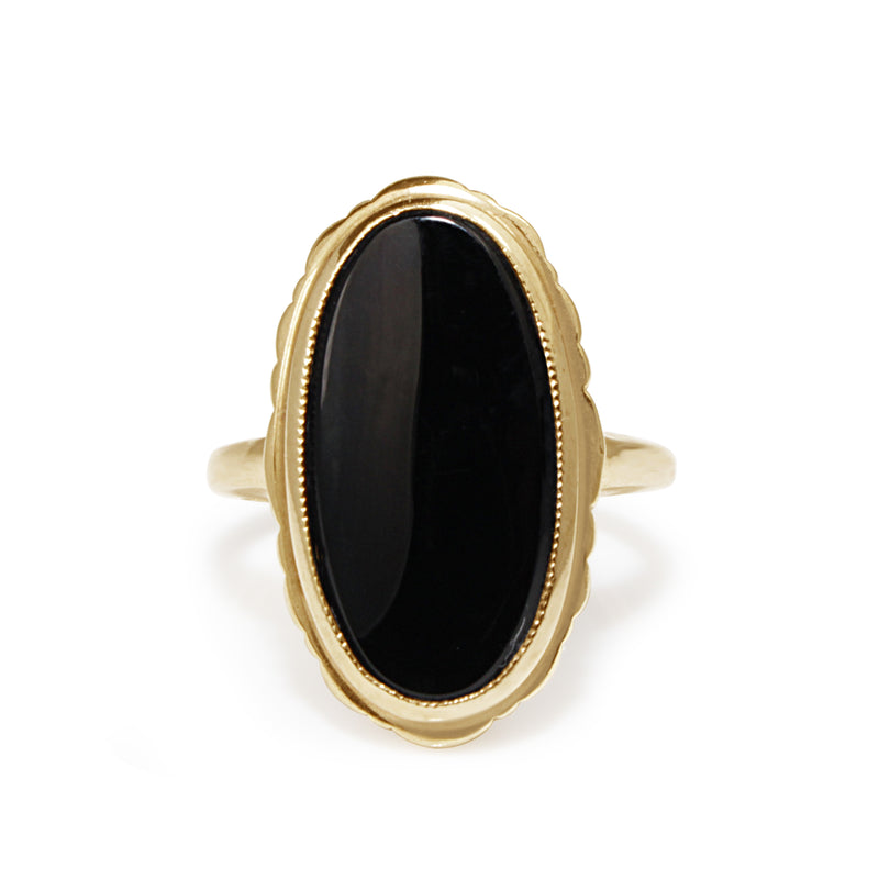 10ct Yellow Gold Vintage Onyx Ring