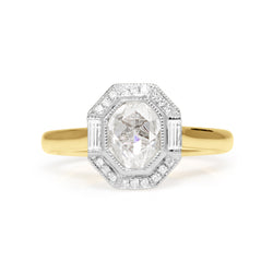 18ct Yellow and White Gold Vintage Style Rose Cut Diamond Halo Ring
