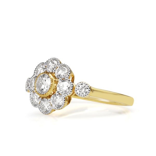 18ct Yellow and White Gold Diamond Daisy Ring