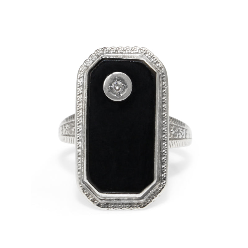 10ct White Gold Onyx and Diamond Art Deco Ring