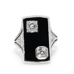 14ct White Gold Art Deco Pearl, Onyx and Old Cut Diamond Ring