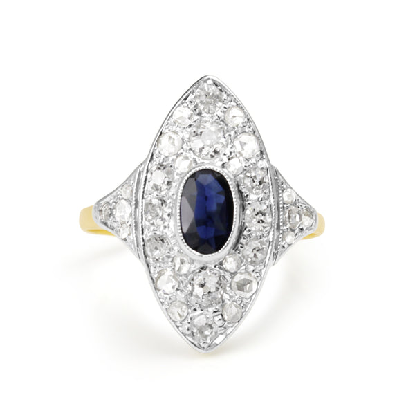 18ct Yellow and White Gold Antique Sapphire and Diamond Ring