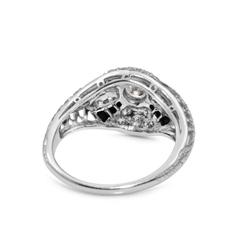 18ct White Gold Diamond and Onyx Art Deco Style Ring