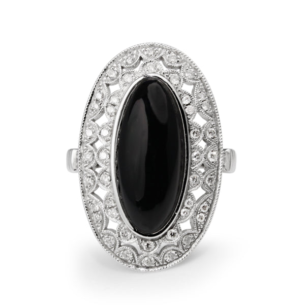 18ct White Gold Deco Style Onyx and Diamond Ring