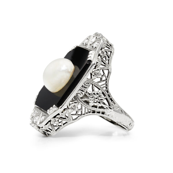 18ct White Gold Art Deco Onyx, Pearl and Old Cut Diamond Ring