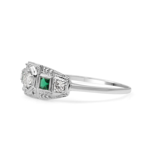 18ct White Gold Emerald and Diamond Art Deco Style Ring
