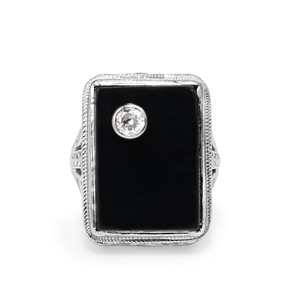 14ct Yellow and White Gold Art Deco Onyx and Diamond Ring