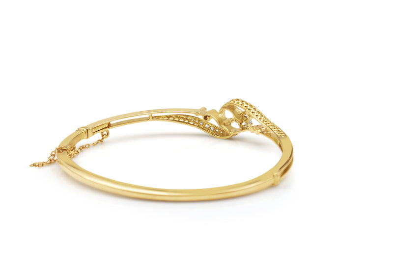 18ct Yellow Gold Antique Rose Cut Diamond Bangle