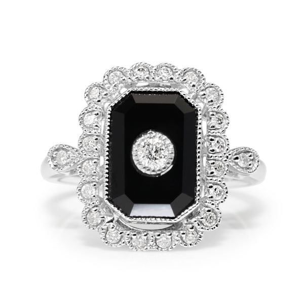 18ct White Gold Onyx and Diamond Vintage Style Ring