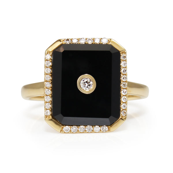 9ct Yellow Gold Onyx and Diamond Art Deco Style Ring