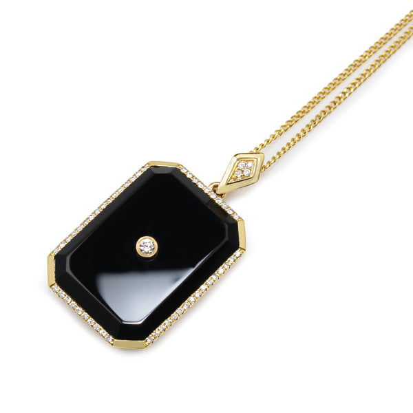 9ct Yellow Gold Onyx and Diamond Pendant / Enhancer