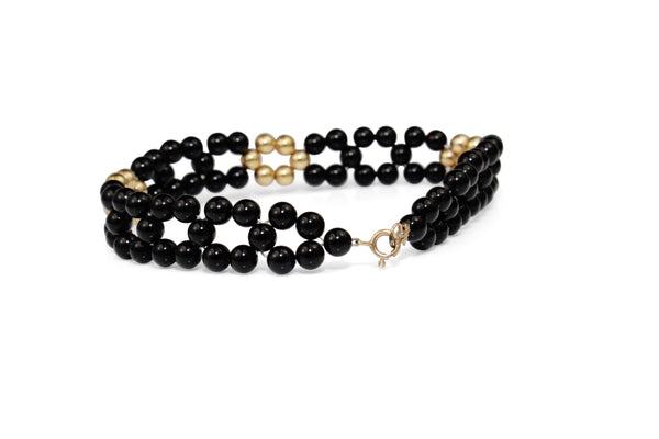 14ct Yellow Gold and Onyx Bead Bracelet