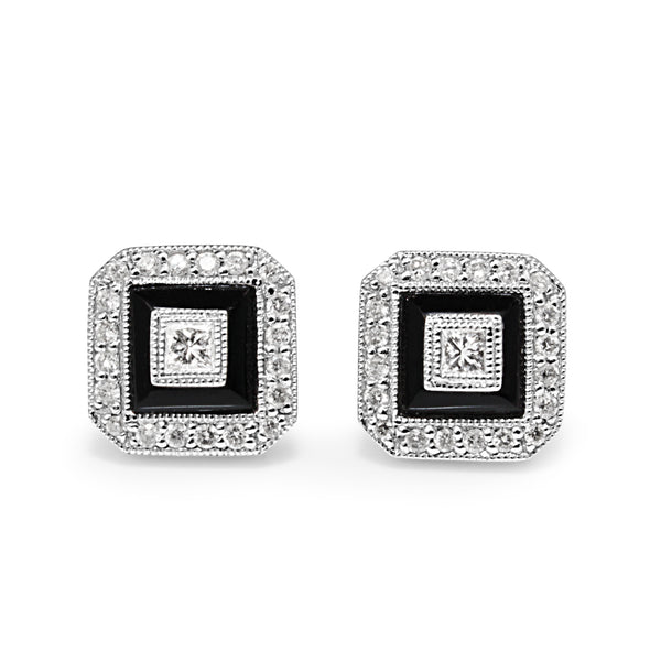 14ct White Gold Onyx and Diamond Stud Earrings