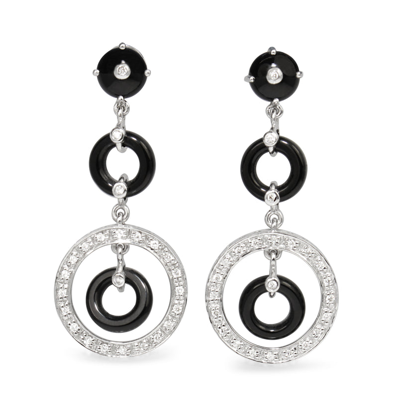 18ct White Gold Onyx and Diamond Drop Earrings