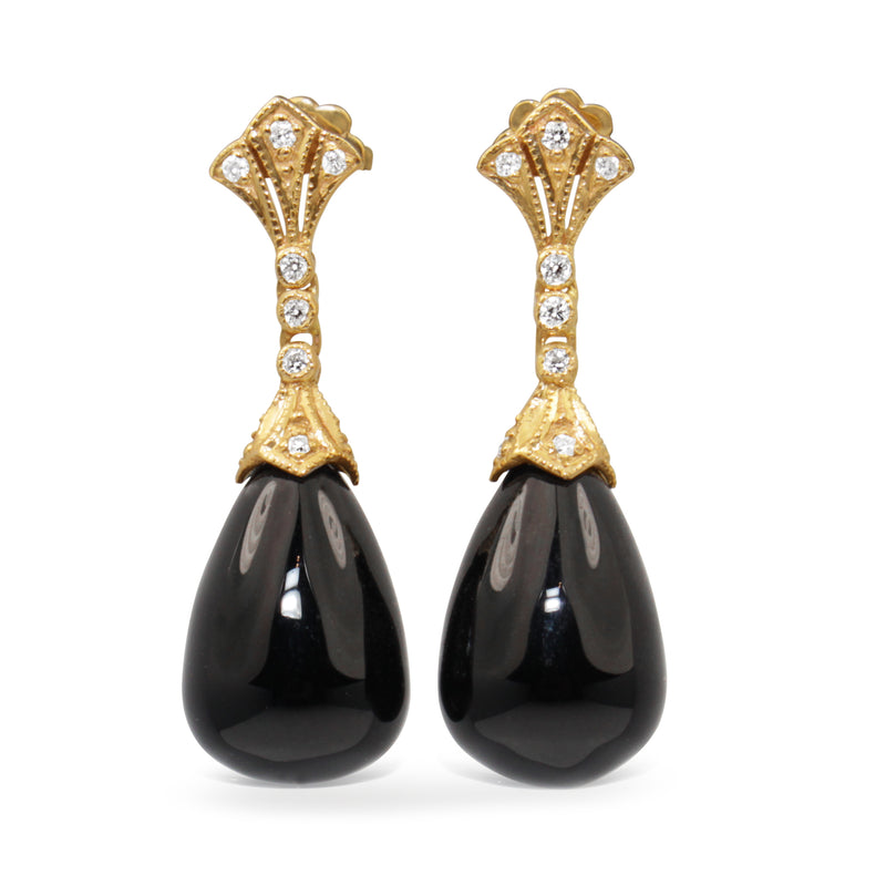 9ct Yellow Gold Onyx and Diamond Deco Style Earrings