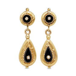 14ct Yellow Gold Art Deco Onyx and Pearl Drop Earrings