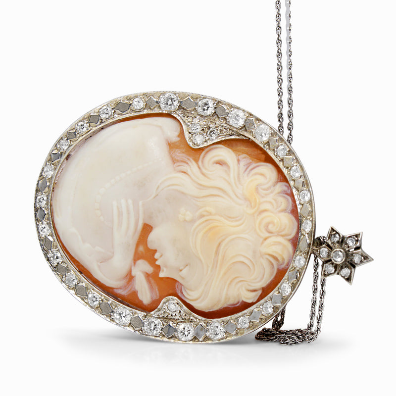 14ct White Gold Vintage Cameo and Diamond Necklace